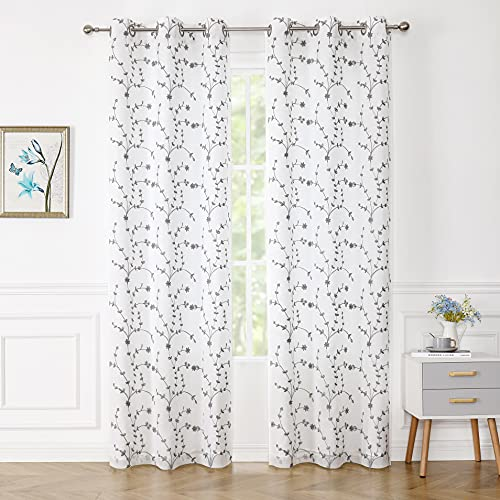 Bujasso Semi Sheer Curtains 84 inch Length White Curtain Gray Embroidered Floral Leaf Patterned Curtain Lined Privacy Curtains Farmhouse White Drapes for Bedroom Grommet Top W38 xL84,Set of 2