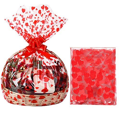 20 Piezas Bolsa de Celofán de Cesta Transparente de Navidad Bolsa de Papel Celofán de Día de San Valentín Grande con Corazón Impreso para Cesta Boda Baby Shower, 23 x 55 Pulgadas