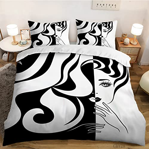 ysldtty 3D Bedding Set Black And White Simple Portrait Extra Large Household Textile Quilt Cover Pillow Case For Both Boys And Girls H2958U 135CM x 200CM With 2 pice pillowcase 50CM x 75CM