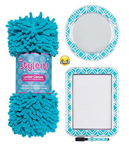 School Locker Organizer Kit - Accessories and Decoration Set with Rug, Mirror and Message Board (Teal Deco)