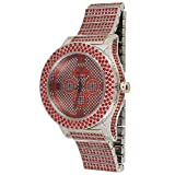 techno king watches for women - Techno King Men's Iced Out Metal Band Watches (6011GM-SLRDRD)