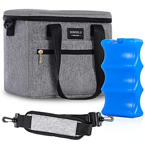 Baby Bottle Bag,Reusable Baby Bottle Tote Bag,Breast Milk Cooler Bag with Ice Pack,Insulated Leak-Proof Bottle Bag,Suitable for Breastfeeding Mothers to use When Going to Work,Gray