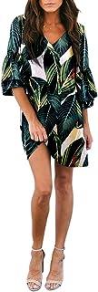 BELONGSCI Women's Dress Sweet & Cute V-Neck Bell Sleeve...