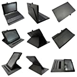 Coodio® Asus Transformer Book T100TA 360 Rotating Multi-Angel Stand Leather Cover Built-in Hand Grip(Supports Keyboard) - Colour Black