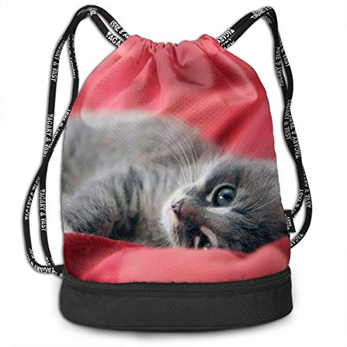 Kordelzug-Rucksack mit Katzen-Motiv, für Sport, Fitnessstudio, Reisen, Rucksack