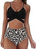 Womens Push Up Two Pieces Bikini Sets Ladies Summer Beachwear Bandage Swimsuits Bikinis Swimwear (Black, L)
