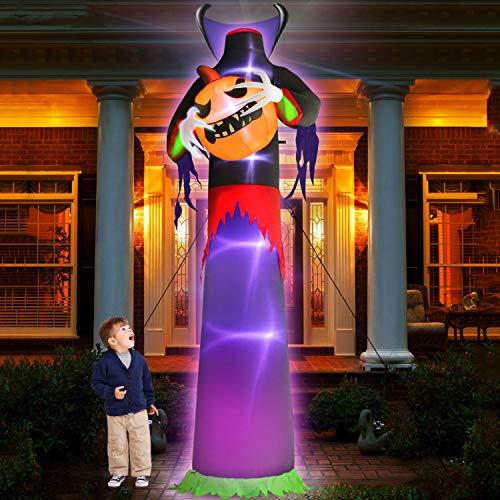 TURNMEON 12Ft Halloween Inflatables Decor Blow Up Headless Ghost Pumpkin Grim Reaper LED Lighted Creepy Halloween…