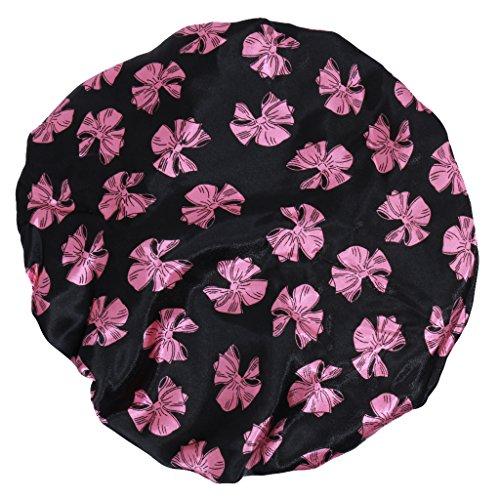 Bonnet de Douche Réutilisable Couverture de Cheveux Satin Spa - Noir avec Motif Papillon