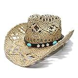 WANGXINQUAN Cappello da Sole Vintage da Uomo Unisex da Donna Cappello a Tesa Larga Sole Spiaggia Cappello da Cowboy Cowgirl Cappello Occidentale Cinturino in Pelle Turchese
