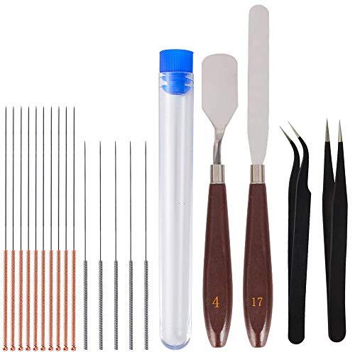 ET 14 pièces Kit de nettoyage de buse pour imprimante 3D, 10 aiguilles de buse (5 x 0,4 mm, 5 x 0,35 mm), 2 couteaux à palette et 2 pinces à épiler.