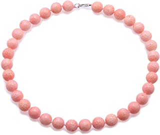JYX Coral Jewelry for Women 14mm Pink Round Coral Beads Single Strand Gemstone Necklace For Women 18