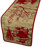 Xia Home Fashions Saint Nick Printed Burlap Christmas Table Runner, 13 by 36-Inch