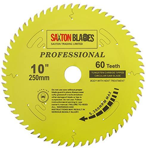 TCT25060TPRO Saxton Professional Range TCT - Hoja de sierra circular (250 mm x 60 T x 30 mm, calibre 16, 20, 25 mm, compatible con Bosch Makita Dewalt etc
