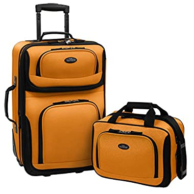 U.S Traveler Rio Carry-On Lightweight Expandable Rolling Luggage Suitcase Set - Mustard (15-Inch And 21-Inch)