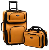 U.S. Traveler Rio Rugged Fabric Expandable Carry-On Luggage Set, Mustard/Orange, 2-Piece Set