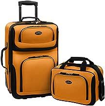 U.S. Traveler Rio Rugged Fabric Expandable Carry-On Luggage Set, Mustard/Orange, 2-Piece
