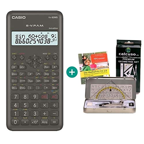 Casio FX-82MS 2 + Mathefritz CD de aprendizaje CALCUSO (alemán) + Kit de geometría de Calcuso