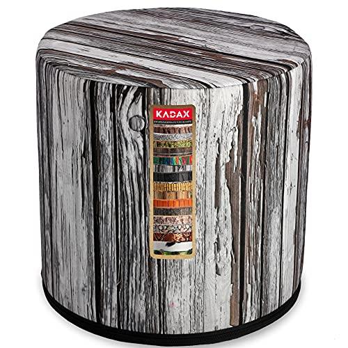 KADAX Sitzpuff, Pouf, runder Sitzhocker, Puff, Ø 40 x 40 cm, Holzoptik, Sitzpouf mit waschbarem Bezug, Sitzsack, Bodenkissen, Deko-Hocker, Fußhocker, Sitzkissen, Stoffhocker (weiß)
