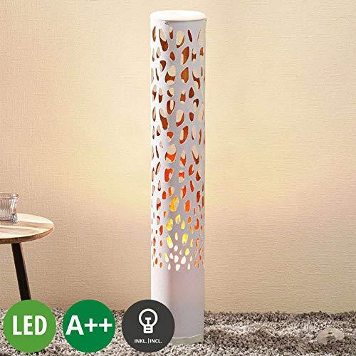 Lampenwelt LED Stehlampe 'Organic' (Modern) in Weiß u.a. für Wohnzimmer & Esszimmer (1 flammig, E14, A++, inkl. Leuchtmittel) - LED-Stehleuchte, Floor Lamp, Standleuchte