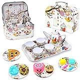 Juegos de té,Juegos de imitación,Juego de té de hojalata para niños, juego de té de pretender, pasteles, galletas, juego de rol para niñas, juego de fiesta de té de hojalata