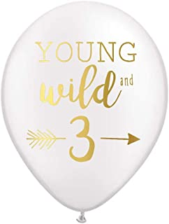 Young Wild and Three Balloons, White Balloons with Metallic Gold Ink, Third Birthday Party Balloons, 3rd Birthday Party Balloons, 3rd Birthday Party Decor, Set of 3, Young Wild and Free