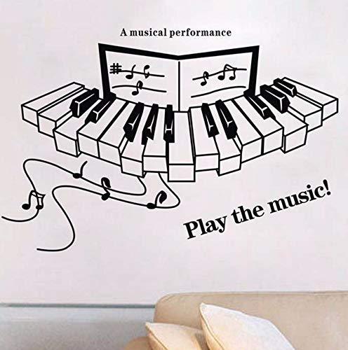 & Quot;Spielen Sie Die Musik! & Quot;Zitate Vinyl Wandtattoos Klavier Musikalische Notizen Wandaufkleber Für Musik Klassenzimmer/Wohnzimmer Dekoration 56X45Cm