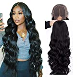 4x4 Lace Front Wigs Human Hair Pre Plucked Body Wave Wigs for Black Women Human Hair Lace Closure Wigs Brazilian Virgin Hair Glueless 150% Density 30 inch Long Wavy Wigs
