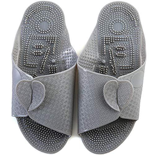 B/H Pantoufles de Bain Chaussures,Chaussons de Massage antidérapants Portables, Portez des Pantoufles Pliantes Ultra-Minces-Gray_L,Chaussons de Bain Chaussons