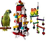 Quality Bird Toys for Parrots [2 Pack] Large Parrot Bird Chewing Toy, Multicolored Wooden Blocks Tearing Toys, for Lovebirds, African Grey,Grey Macaws, Cockatoos