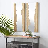 """Benzara Antique Colonial Rectangular Wall Mirrors, 32"""" and 32"""" H, Natural Wood Brown, Set of 2, 2 Piece"""