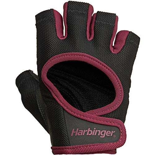 Harbinger Women's Power Workout Weightlifting Gloves with StretchBack Mesh and Leather Palm (1 Pair) Black/Merlot Large