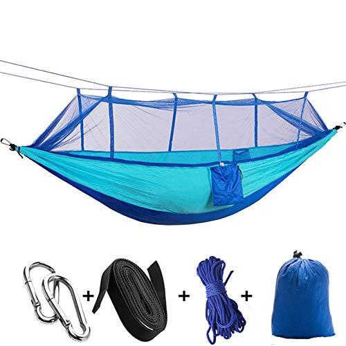 Ltong Hangmat met klamboe Tuinmeubilair 2-persoons draagbaar hangbed Sterkte Parachute-stof Slaapschommel, Blue Sky Blue