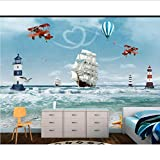 Zybnb Fondos De Pantalla Mural Fotográfico Moderno Para Niños Dibujos Animados En 3D Océano Mar Barco Helicóptero Estilo Nórdico En La Habitación Habitación Infantil Habitación