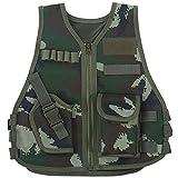 Chaleco táctico para niños Ejército de camuflaje Chaleco de asalto Chalecos duraderos y transpirables con bolsillo múltiple ajustable para juegos de caza al aire libre(L-camuflaje de la selva)