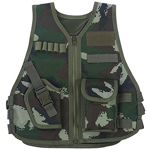 Chaleco táctico para niños Ejército de camuflaje Chaleco de asalto Chalecos duraderos y transpirables con bolsillo múltiple ajustable para juegos de caza al aire libre(S-camuflaje de la selva)