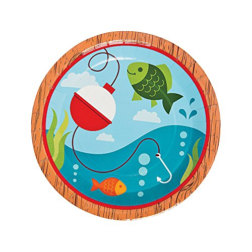 Little Fisherman Dinner Party Plates - Set of 8 - Birthday Party Supplies