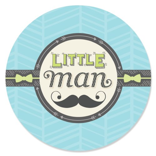 Dashing Little Man Mustache Party - Baby Shower or Birthday Party Circle Sticker Labels - 24 Count