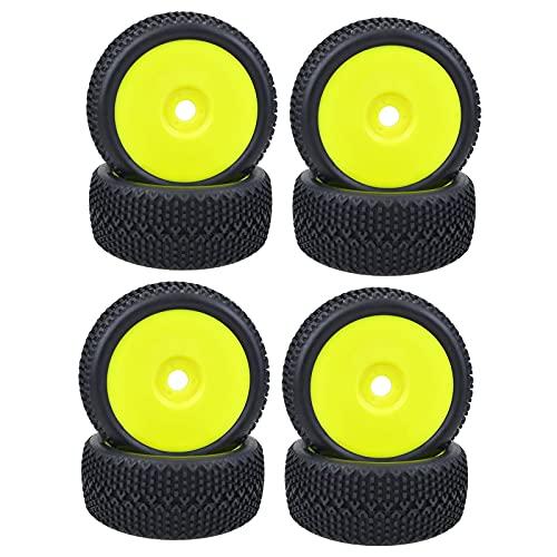 Amagogo 4 Piezas de neumáticos de Goma Cubos de neumáticos Llantas de Rueda para RC Car Buggy Car Truck Modelo Repuestos de Repuesto Accesorios