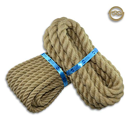 BITUL Cuerda de yute trenzada, diámetro de 6 hasta 60 mm, color marrón claro, fibras naturales, cuerda decorativa para manualidades, macramé, cuerda de jardín, pasamanos (20 mm, 10 metros)