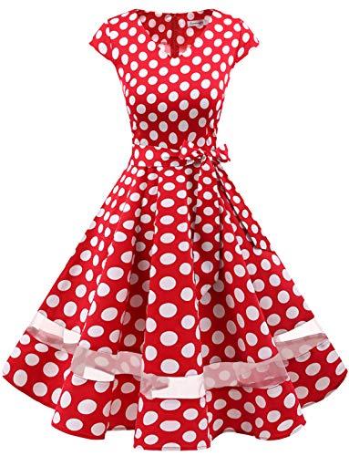 Gardenwed 1950er Vintage Retro Rockabilly Kleider Petticoat Faltenrock Cocktail Festliche Kleider Cap Sleeves Abendkleid Hochzeitkleid Red White Dot 3XL