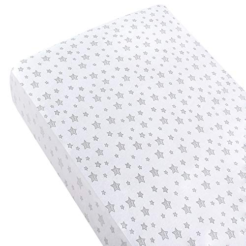 SPRINGSPIRIT 100% Cotton Jersey Sheet, Cot Sheet Fitted for Standard Cot Mattress(60x120cm), Ultra Soft Toddler & Baby Bed Sheet, White Stars Print for Boys Girls