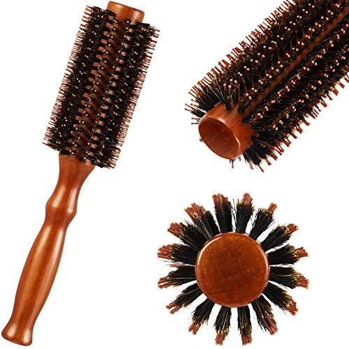 Boar Bristle Round Brush Round Hair Brush Wooden Handle Styling Brush Anti...