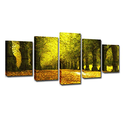Parque otoñal dorado árboles hojas amarillas callejón paisaje de hojas caducas