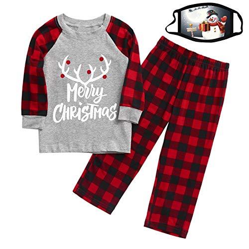 Christmas Parent-Child Suit Children's Christmas Letter Printing Men'S Shirt Long-Sleeved Round Neck Pullover/Lattice Pants Home Apparel Gift Children's Dust-Proof Washable Reusable M_as_k