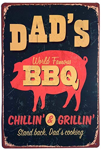 RTOUTS Dad'S Bbq Stand Back Dad'S Cooking Metal Metal Retro Tin Sign Antique Plaque Poster Living Room Bar Pub Home Vintage Aluminum for Wall Decor 8x12 Inch