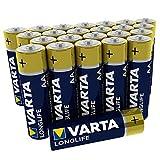 Pila Varta Longlife AA Mignon LR06 (paquete de 24 unidades), pilas alcalinas - «Made in Germany» - Ideal para mandos a distancia, radios, despertadores y relojes