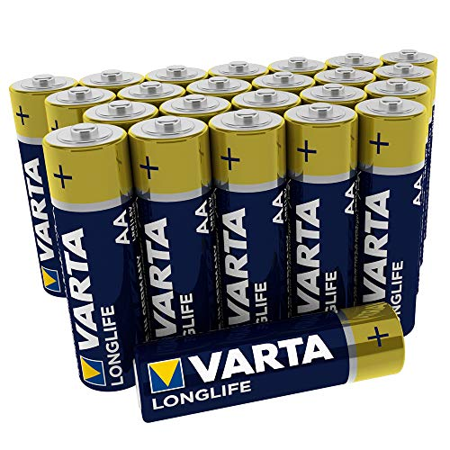 VARTA Longlife AA Mignon LR6 Batterie (24er Pack) Alkaline Batterien – Made in Germany – ideal für Fernbedienung Radio Wecker und Uhr