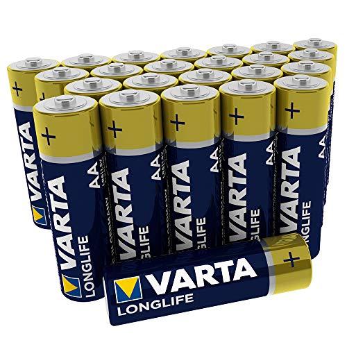 VARTA Longlife AA Mignon LR6 Batterie (24er Pack) Alkaline Batterien – Made in Germany – ideal für Fernbedienung Radio Wecker und Uhr
