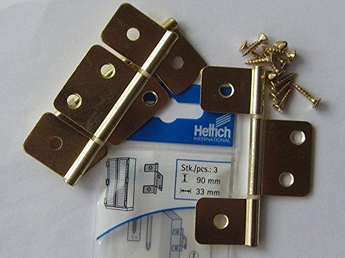 Hettich Lamellentürscharniere für innenleigende und vorliegende Türen, 90 x 33 mm, Stahl vermessingt, 3 Stück, 62336