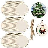 100 bolas redondas madera para colgar artesanías, adornos de madera de Navidad, adornos de madera sin terminar, formas de madera en blanco con cuerda para decoración de árbol de Navidad, manualidades